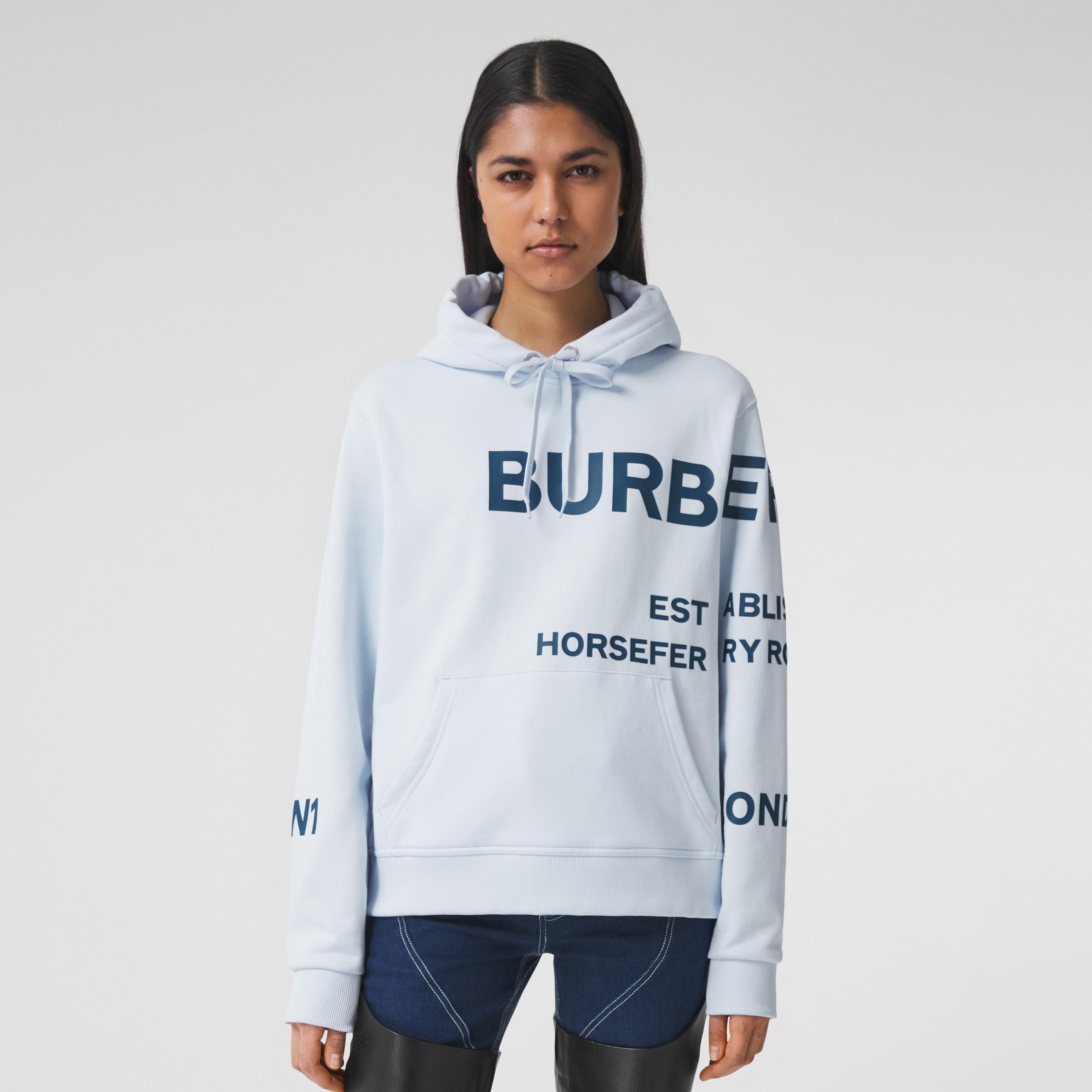 Felpa oversize in cotone con cappuccio e stampa Horseferry (Blu Pallido) - Donna | Burberry - 5