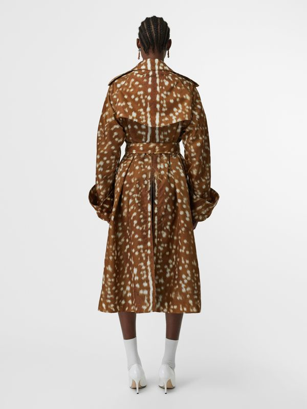 Exaggerated Cuff Deer Print Nylon Trench Coat in Honey - Women | Burberry - cell image 2