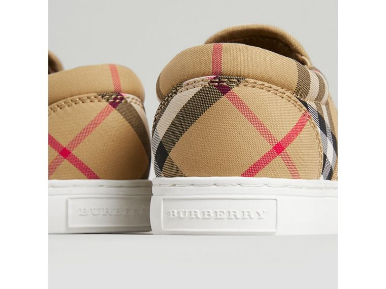 Vintage Check and Leather Slip-on Sneakers in Antique Yellow/optic White | Burberry Australia - cell image 1