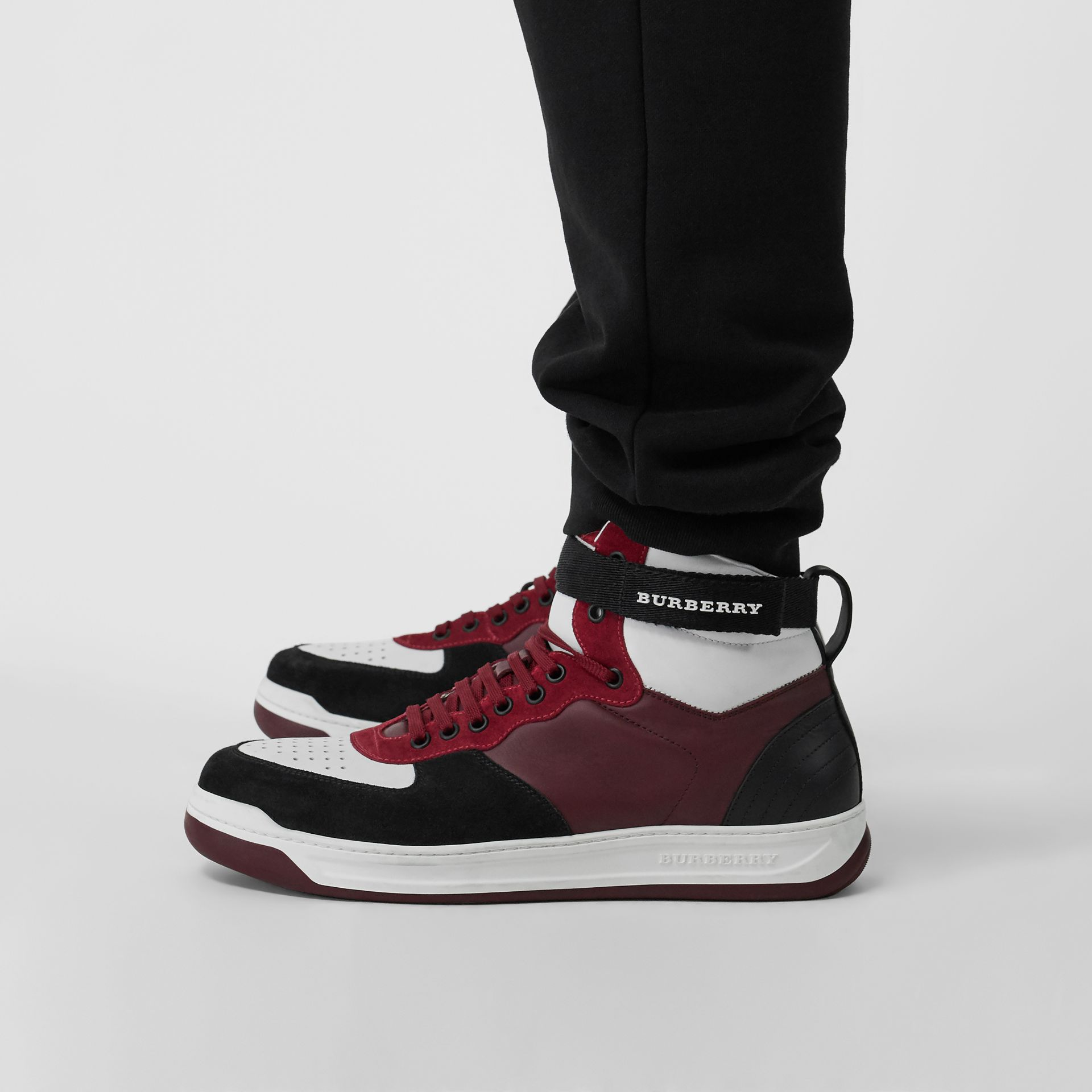 Leather and Suede High-top Sneakers in Burgundy Red - Men | Burberry - gallery image 2