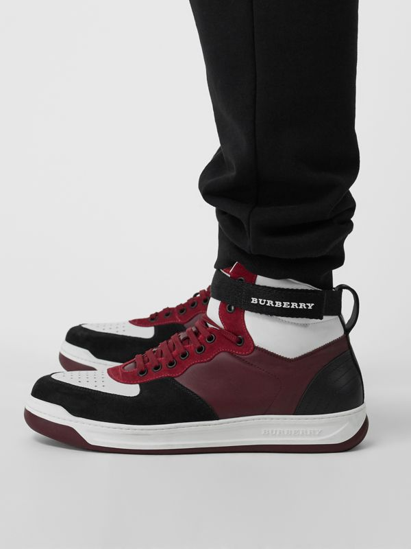 Leather and Suede High-top Sneakers in Burgundy Red - Men | Burberry - cell image 2
