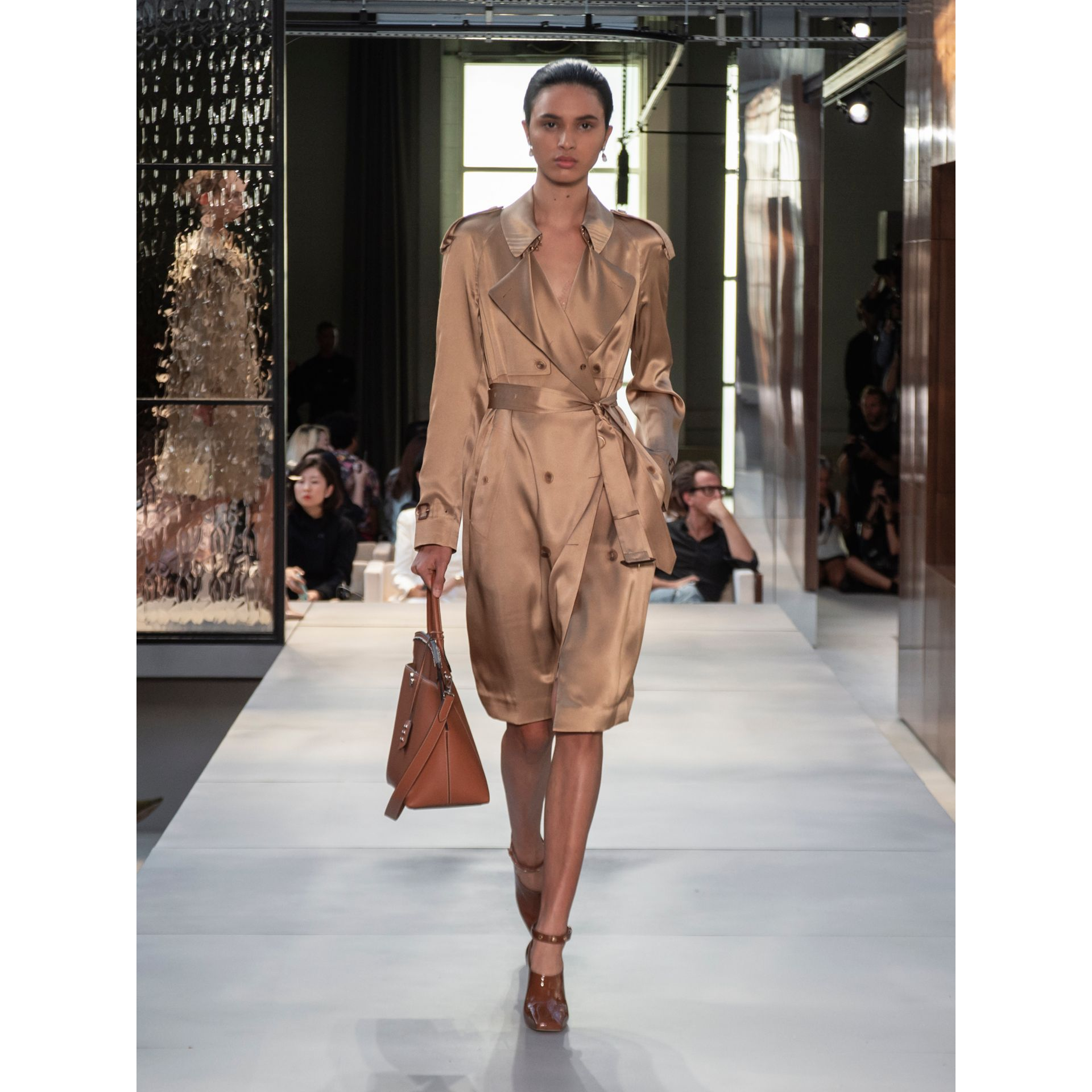 Silk Wrap Trench Coat in Honey - Women | Burberry Singapore - gallery image 5