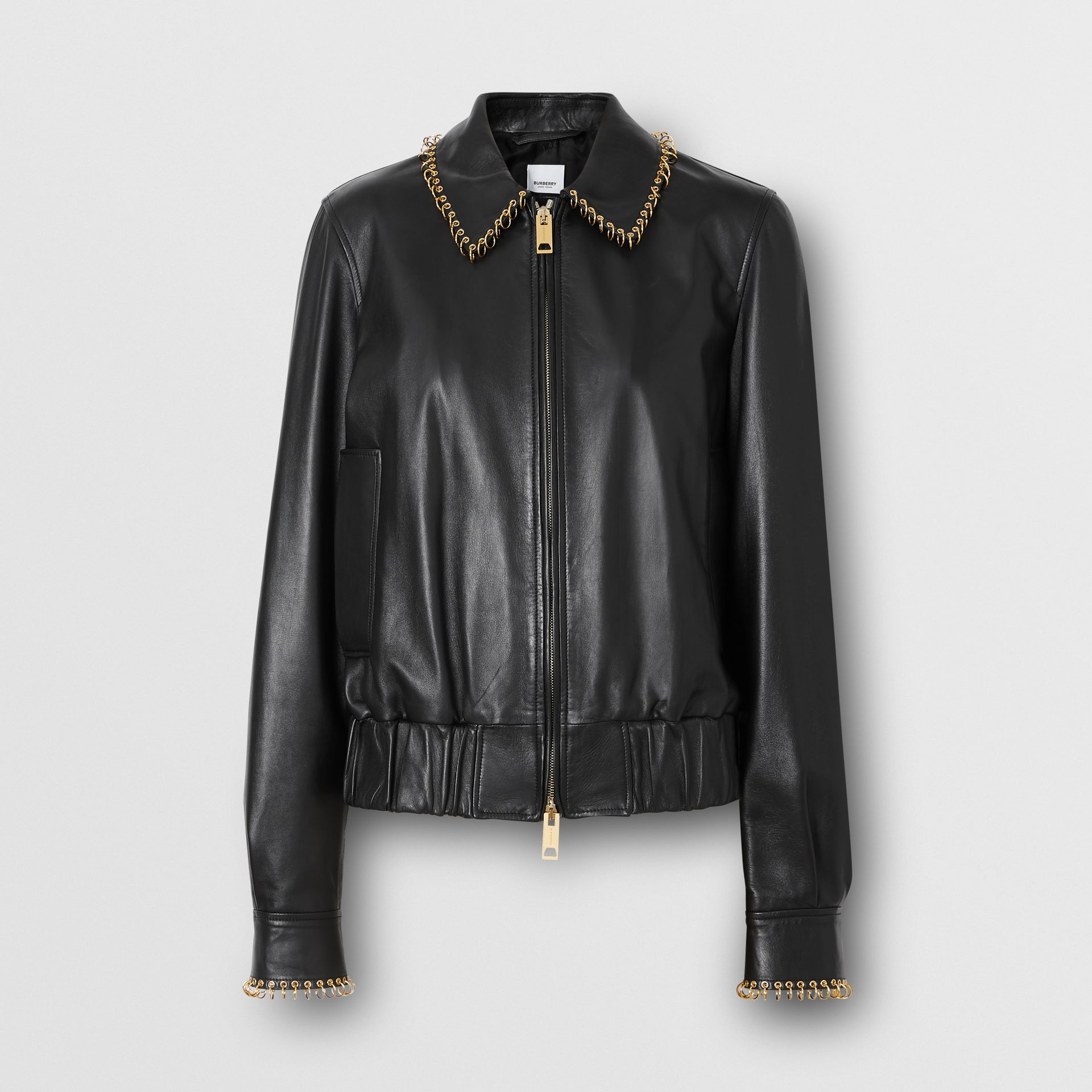 Ring-pierced Lambskin Jacket in Black - Women | Burberry - gallery image 3