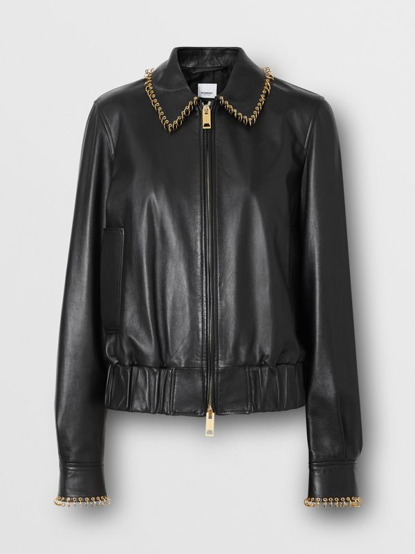 Ring-pierced Lambskin Jacket in Black - Women | Burberry - cell image 3