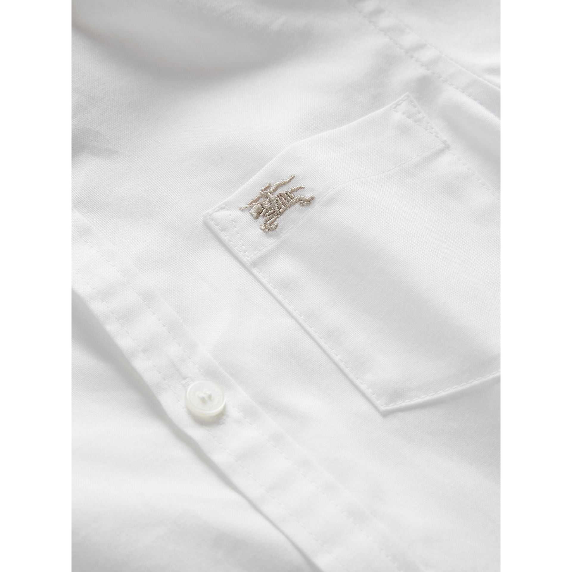 Cotton Button-down Collar Shirt in White | Burberry - gallery image 1