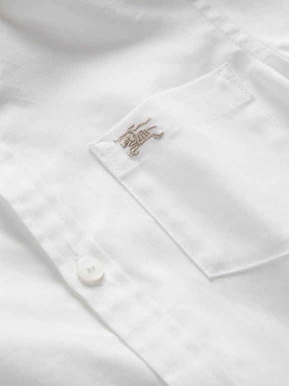 Cotton Button-down Collar Shirt in White - Boy | Burberry - cell image 1