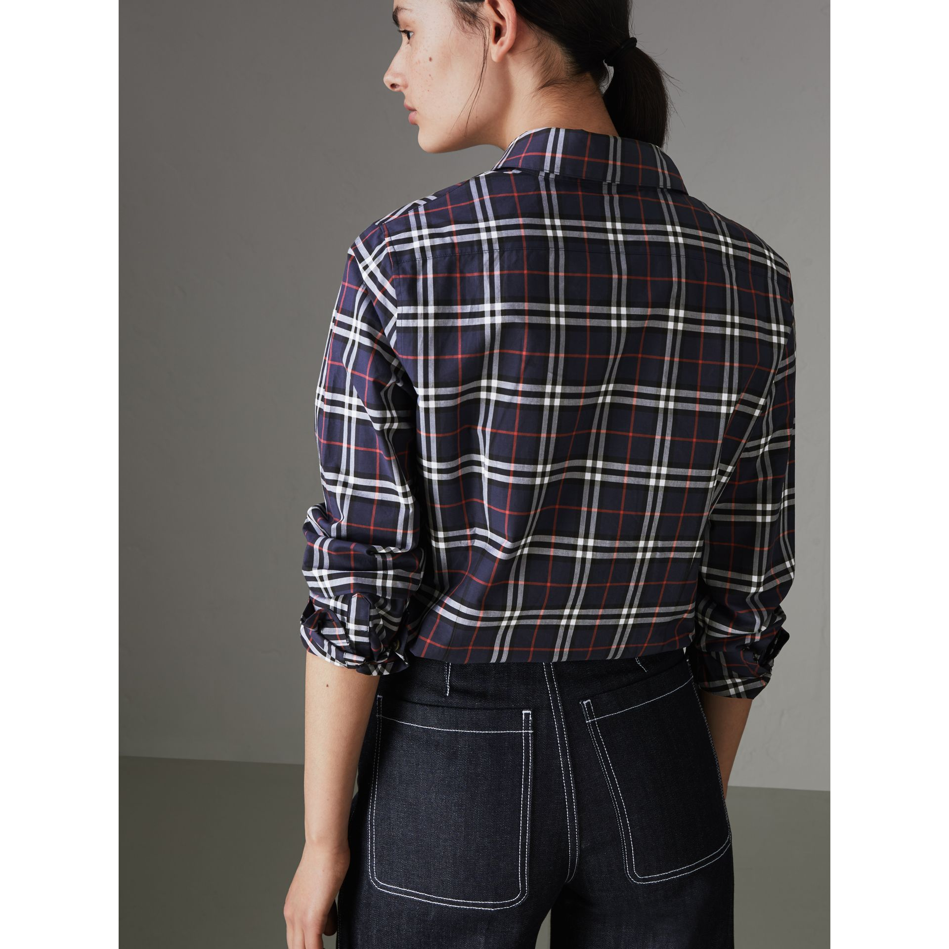 Check Cotton Shirt in Navy - Women | Burberry United Kingdom - gallery image 2