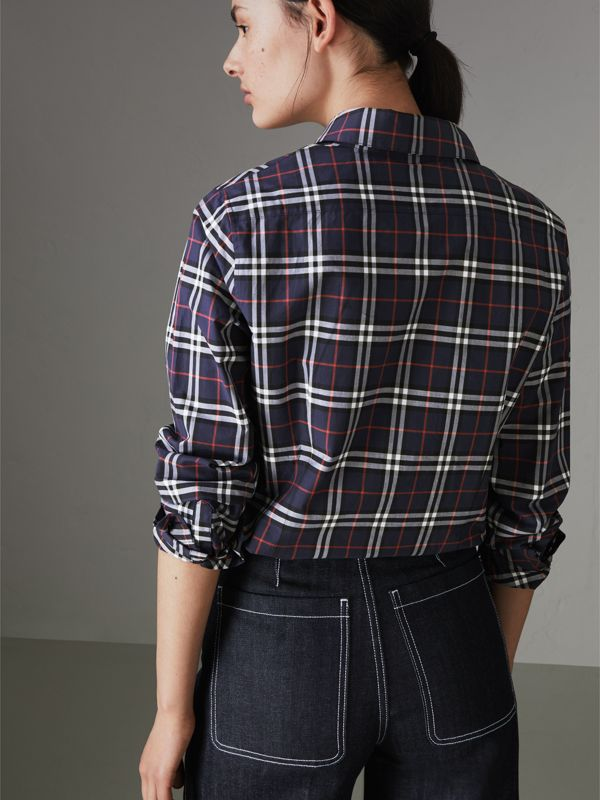 Check Cotton Shirt in Navy - Women | Burberry United Kingdom - cell image 2