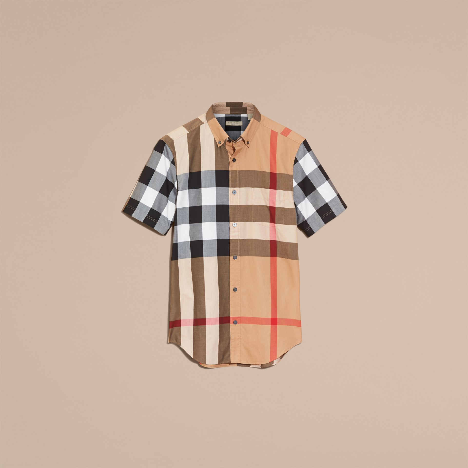 Camel Short-sleeved Check Cotton Shirt Camel - gallery image 4
