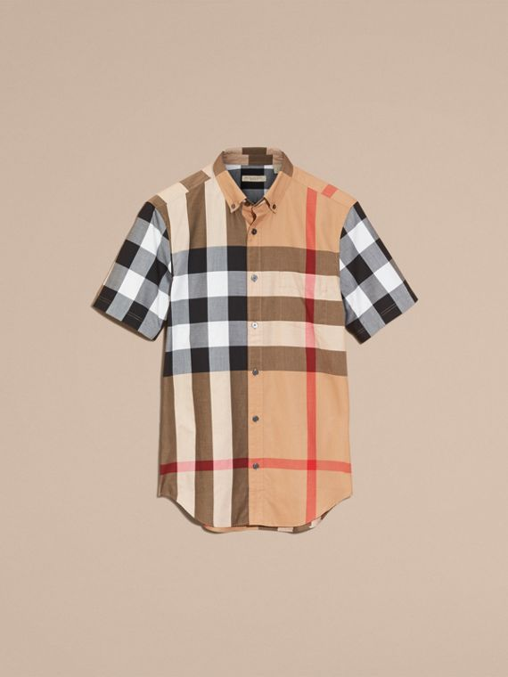 Camel Short-sleeved Check Cotton Shirt Camel - cell image 3