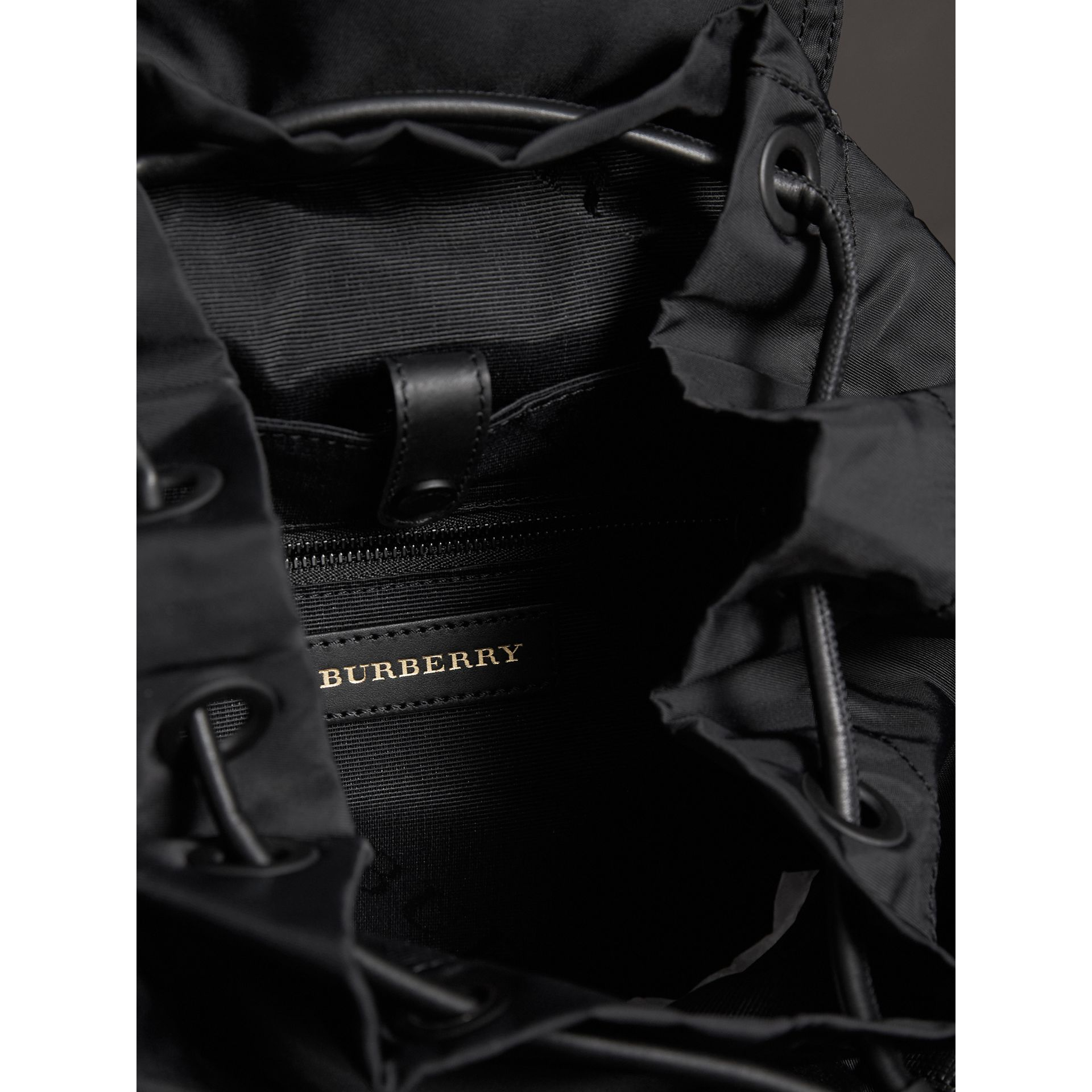 The Large Rucksack in Technical Nylon and Leather in Black - Men | Burberry Australia - gallery image 5