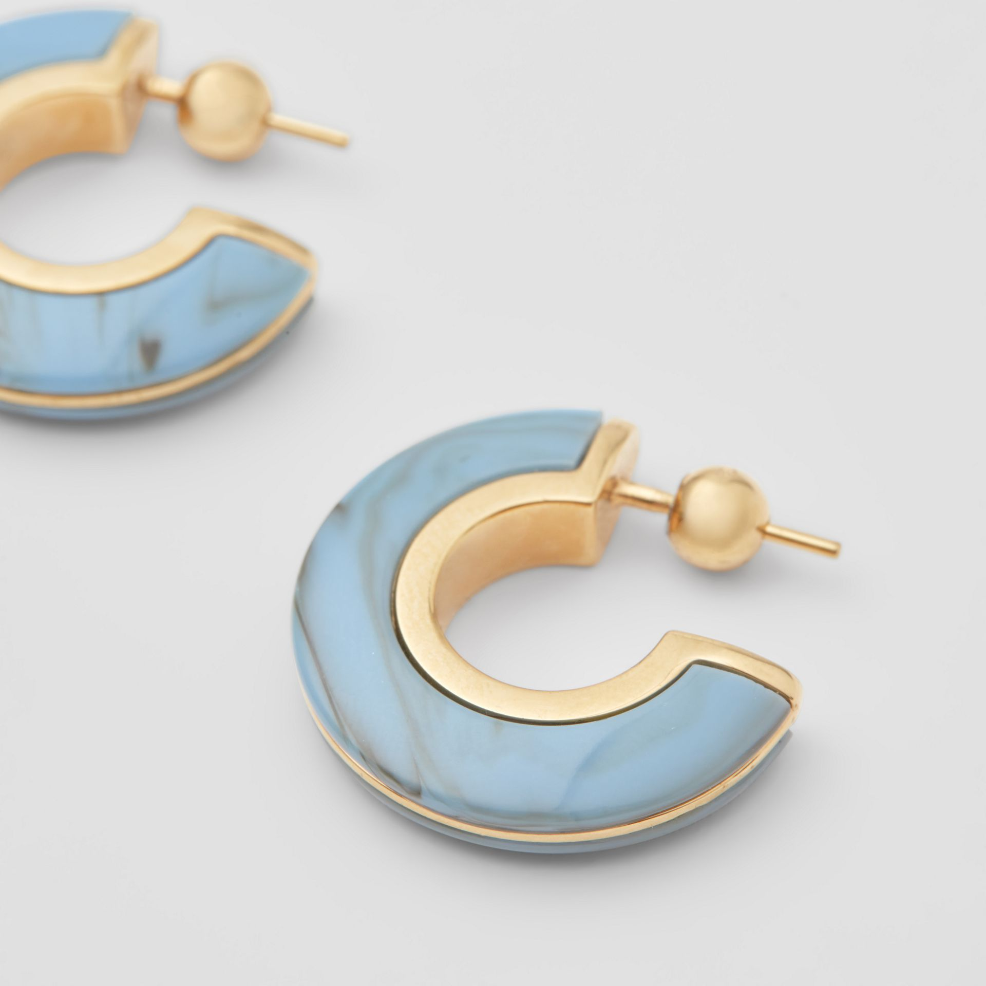 Marbled Resin Gold-plated Hoop Earrings in Light Gold/robin Blue - Women | Burberry - gallery image 1