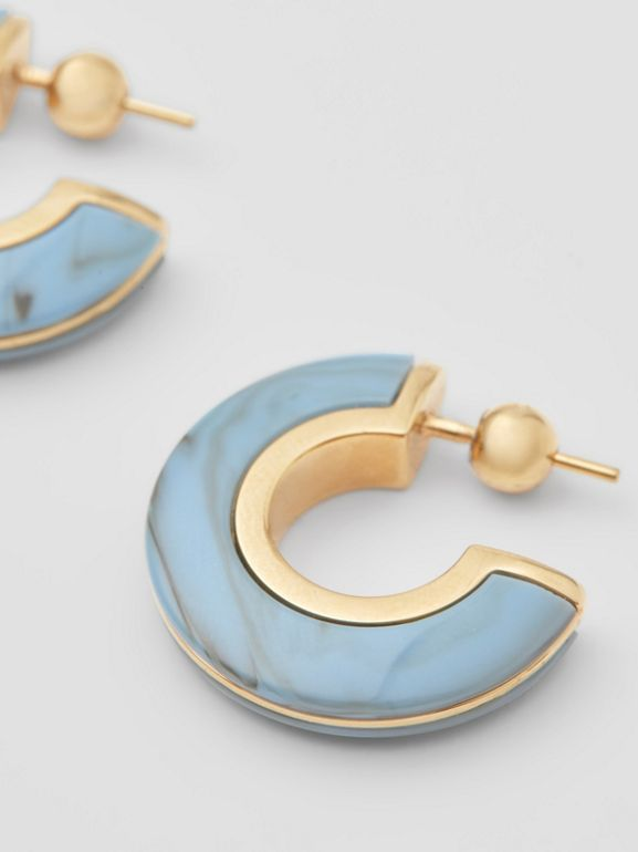 Marbled Resin Gold-plated Hoop Earrings in Light Gold/robin Blue - Women | Burberry - cell image 1