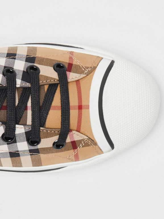 Vintage Check and Neoprene High-top Sneakers in Antique Yellow - Women | Burberry - cell image 1