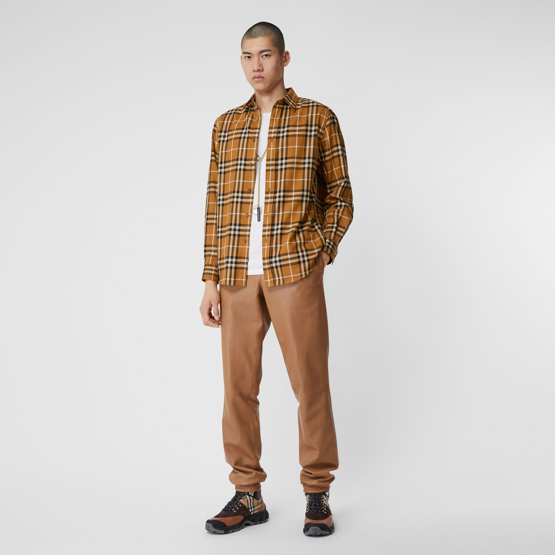 Vintage Check Cotton Flannel Shirt in Warm Walnut - Men | Burberry United Kingdom - gallery image 0