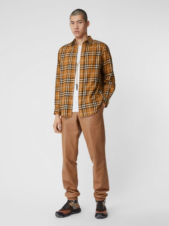 Vintage Check Cotton Flannel Shirt in Warm Walnut