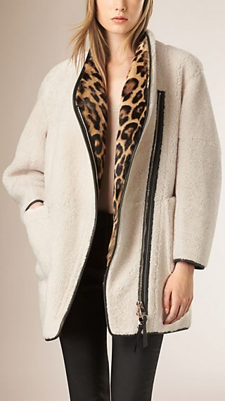 Shearling and Fur Coat with Detachable Warmer
