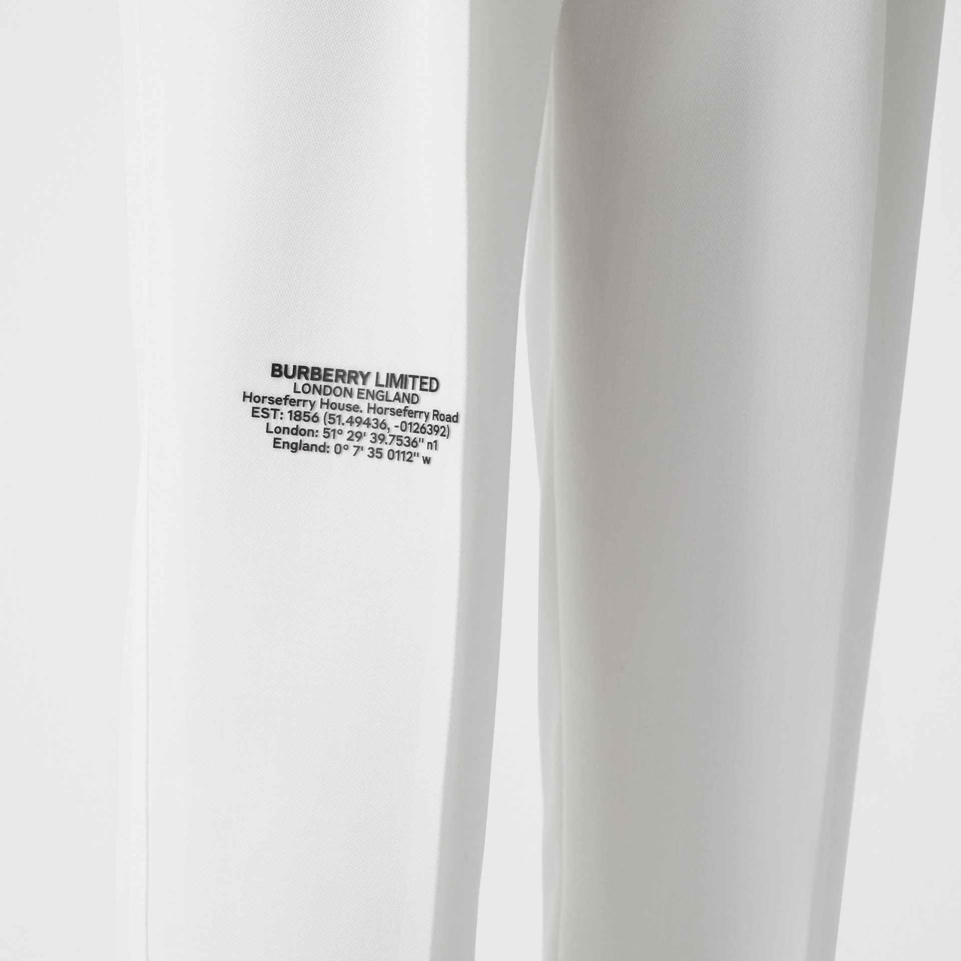 Location Print Wool Blend Tailored Trousers in Optic White - Women | Burberry United Kingdom - gallery image 1