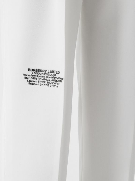 Location Print Wool Blend Tailored Trousers in Optic White - Women | Burberry United Kingdom - cell image 1