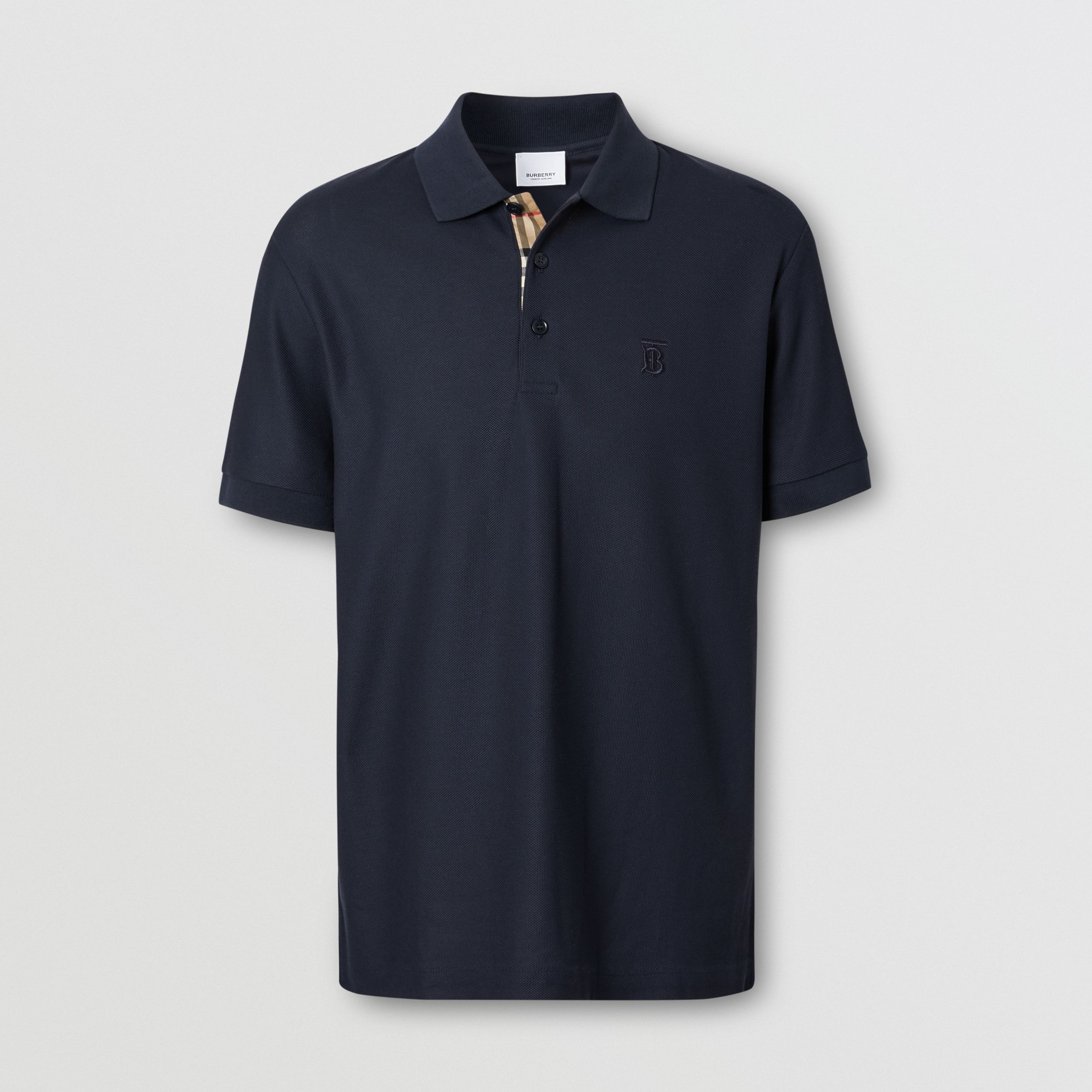 Monogram Motif Cotton Piqué Polo Shirt in Navy - Men | Burberry - 4