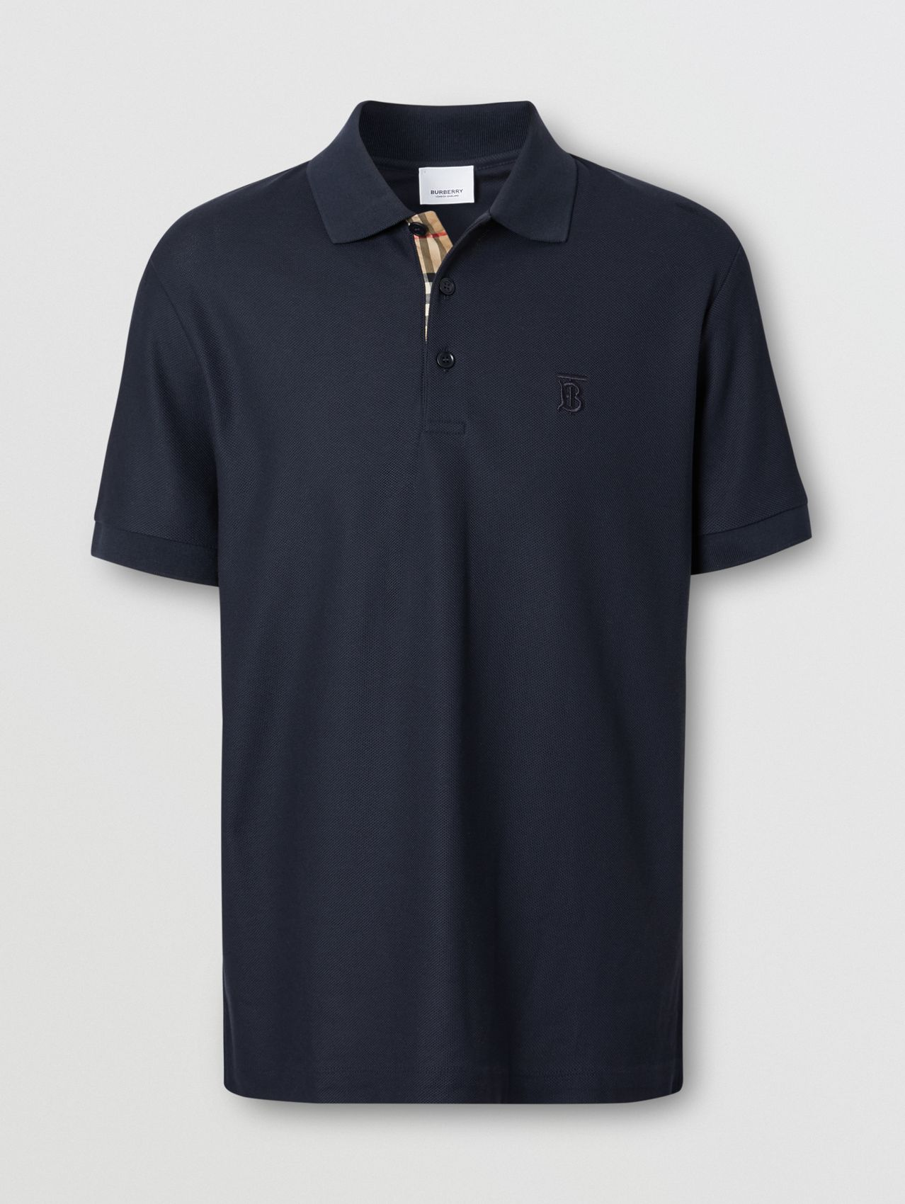 Monogram Motif Cotton Piqué Polo Shirt in Navy
