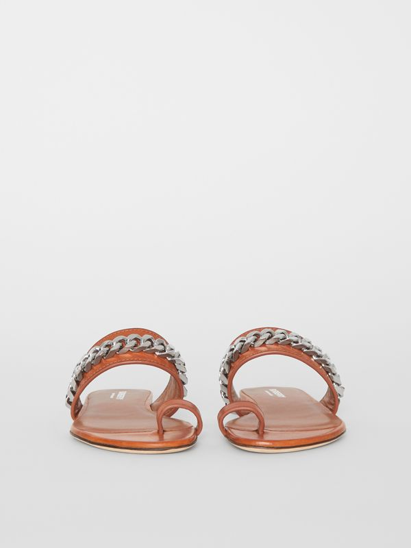 Chain Detail Leather Sandals in Amber - Women | Burberry - cell image 3