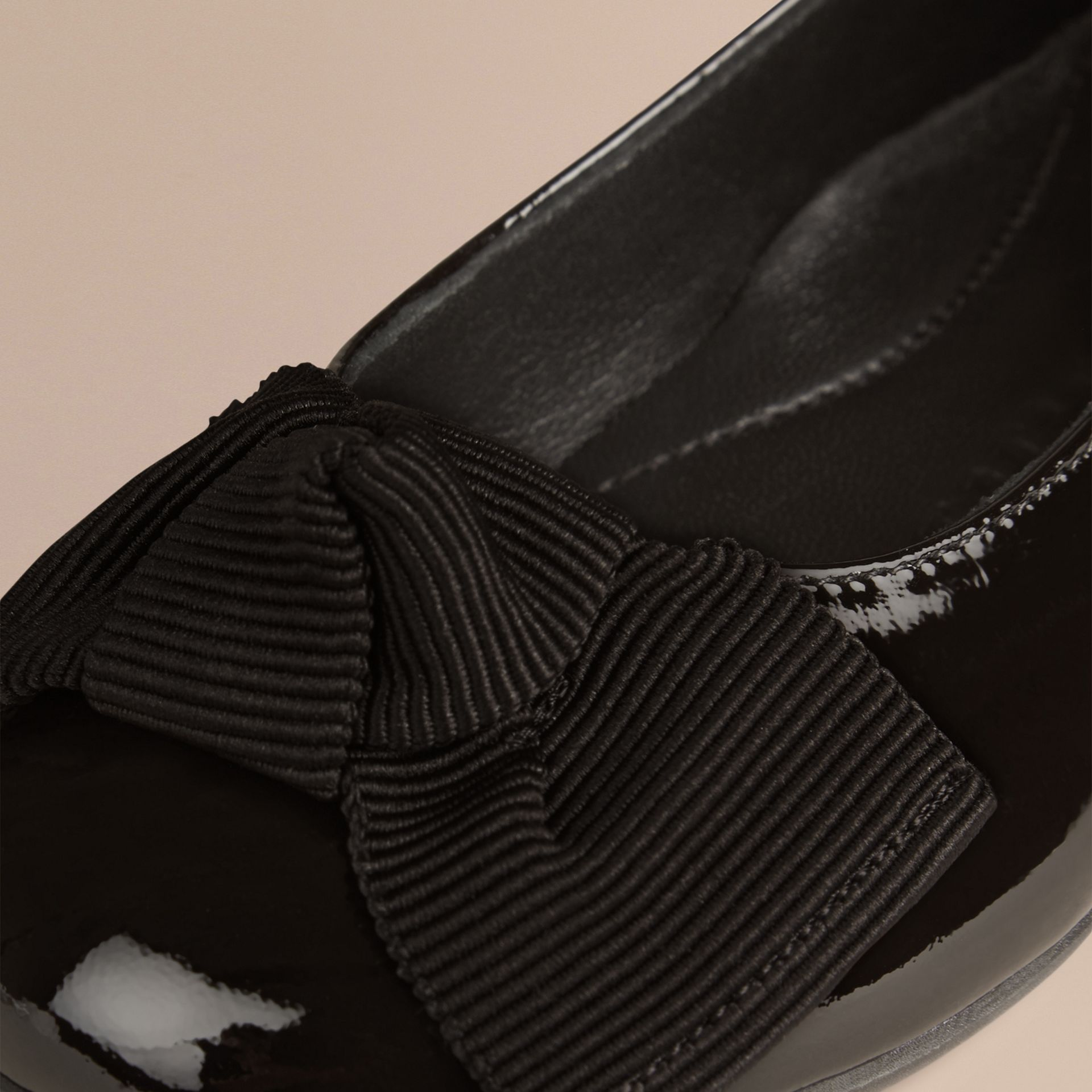 Black Bow Detail Leather Ballerinas - gallery image 2