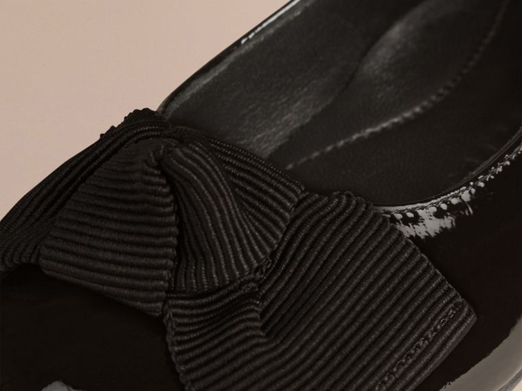 Bow Detail Leather Ballerinas in Black - Girl | Burberry - cell image 1