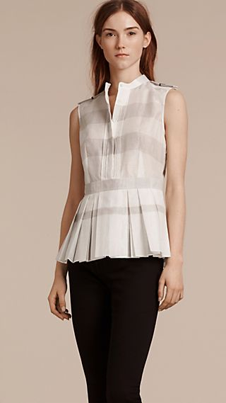 Striped Cotton Silk Peplum Shirt