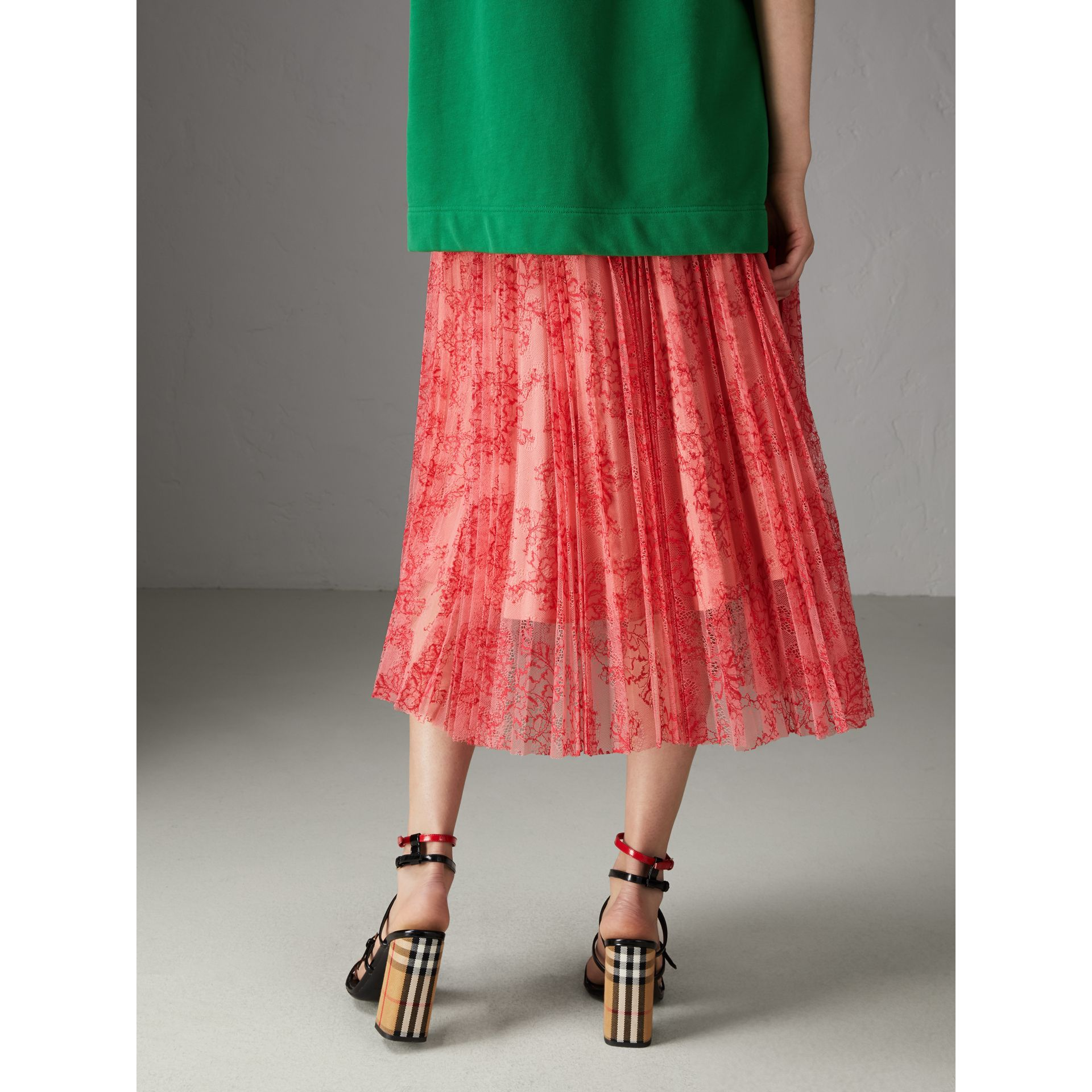 Pleated Lace Skirt in Pale Apricot/coral - Women | Burberry - gallery image 1