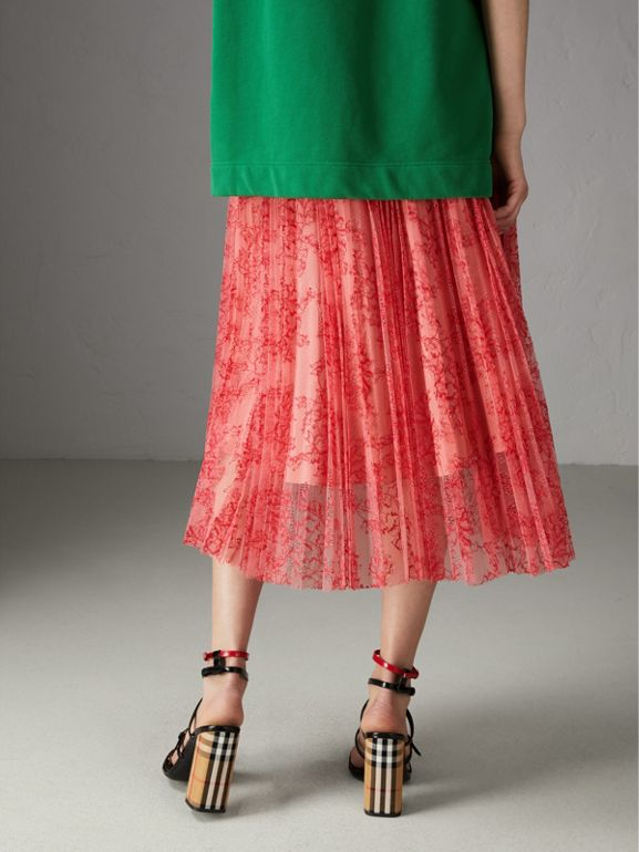 Pleated Lace Skirt in Pale Apricot/coral - Women | Burberry United Kingdom - cell image 1