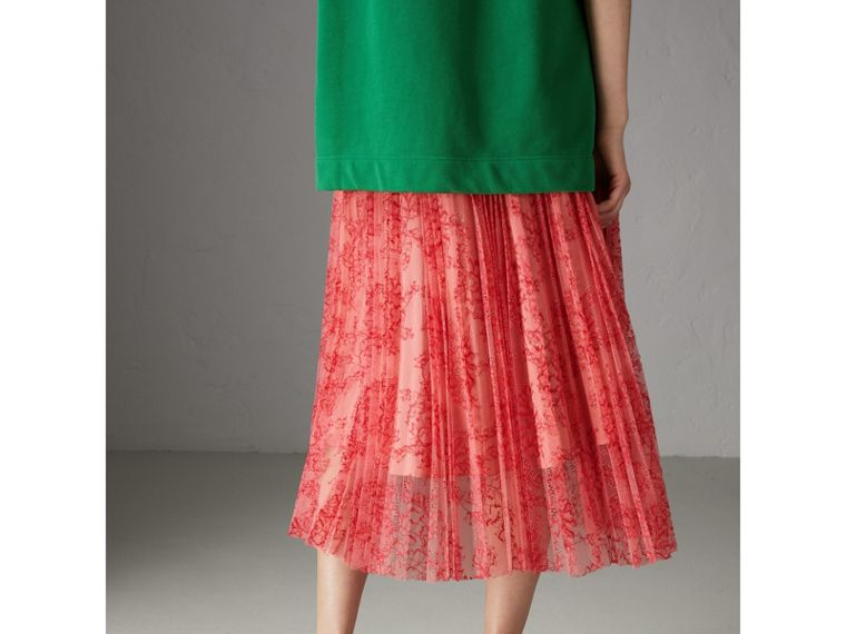 Pleated Lace Skirt in Pale Apricot/coral - Women | Burberry - cell image 1