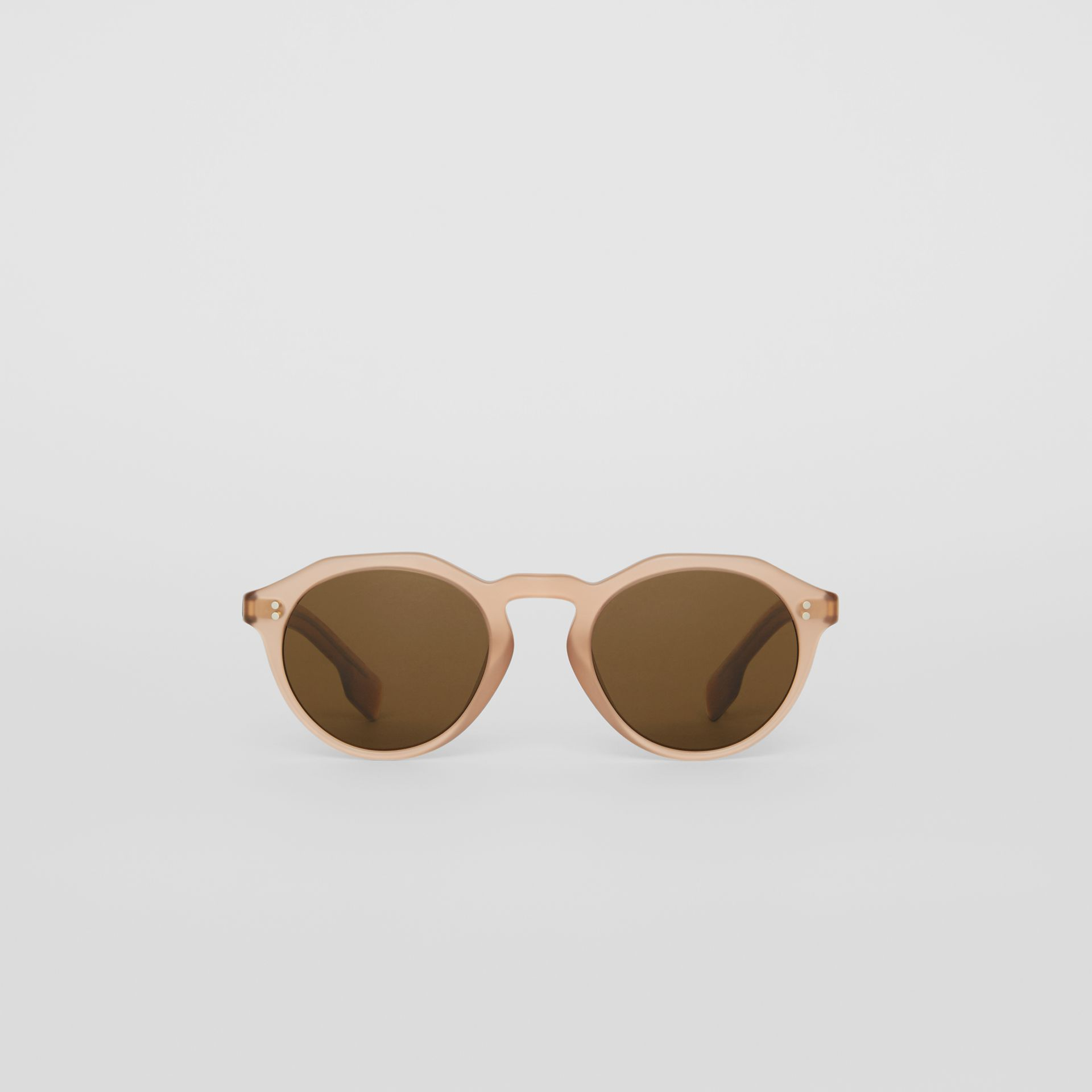 Keyhole Round Frame Sunglasses in Brown - Men | Burberry United Kingdom - gallery image 0