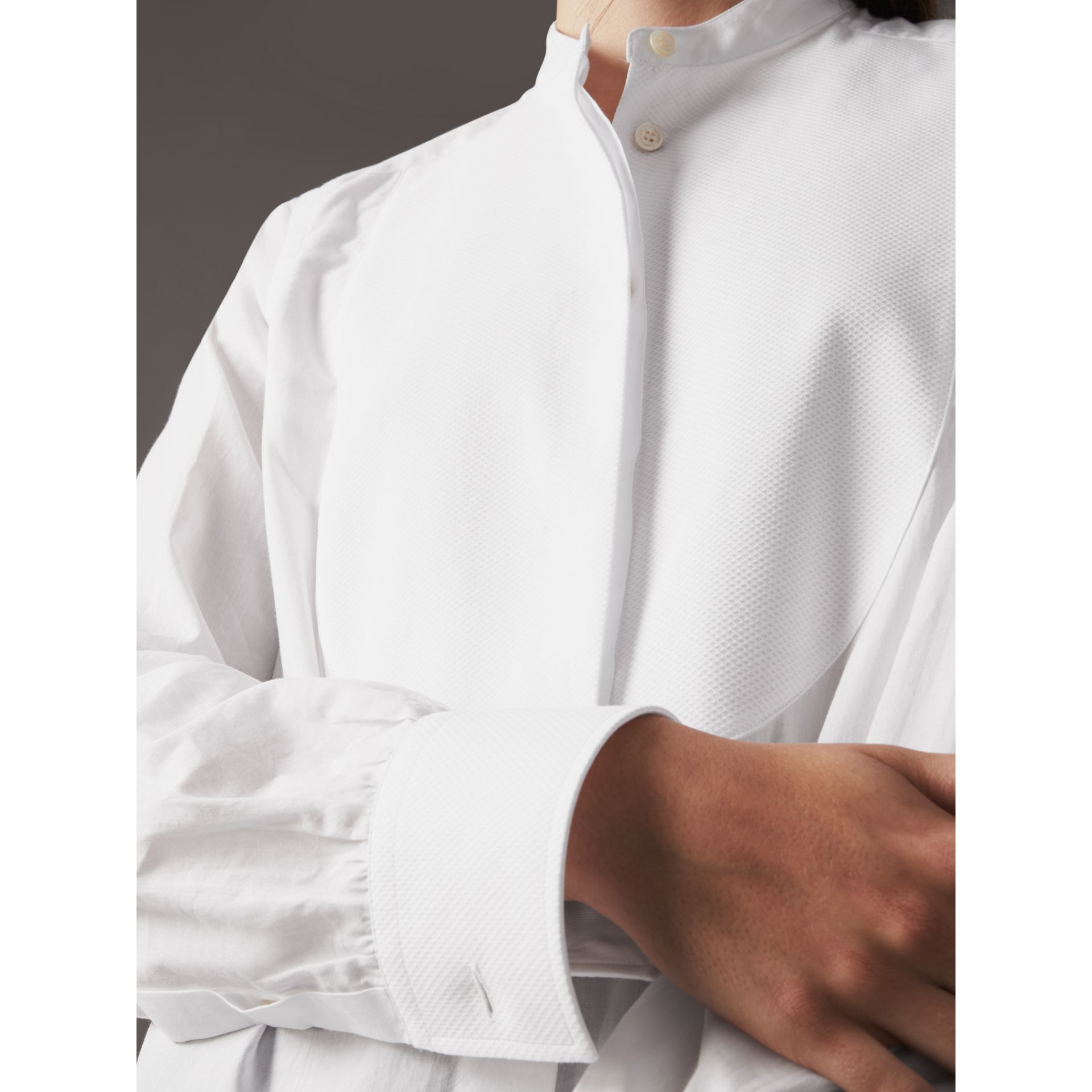 Bib Detail Cotton Longline Tunic Shirt in White - Women | Burberry - gallery image 5
