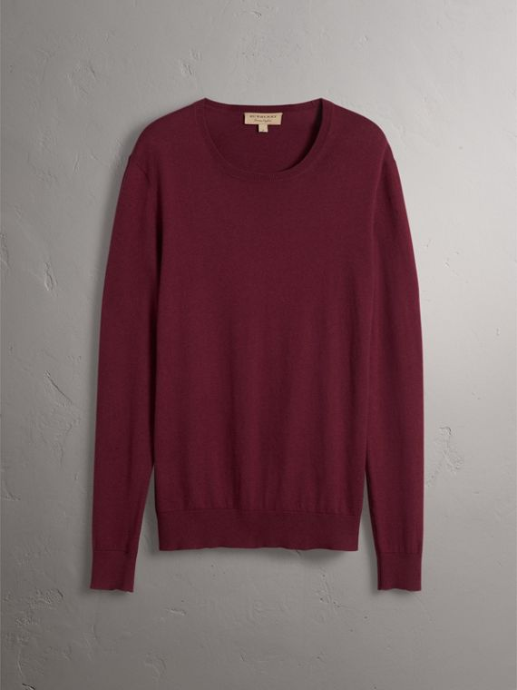 Check Trim Cashmere Cotton Sweater in Claret - Men | Burberry - cell image 3