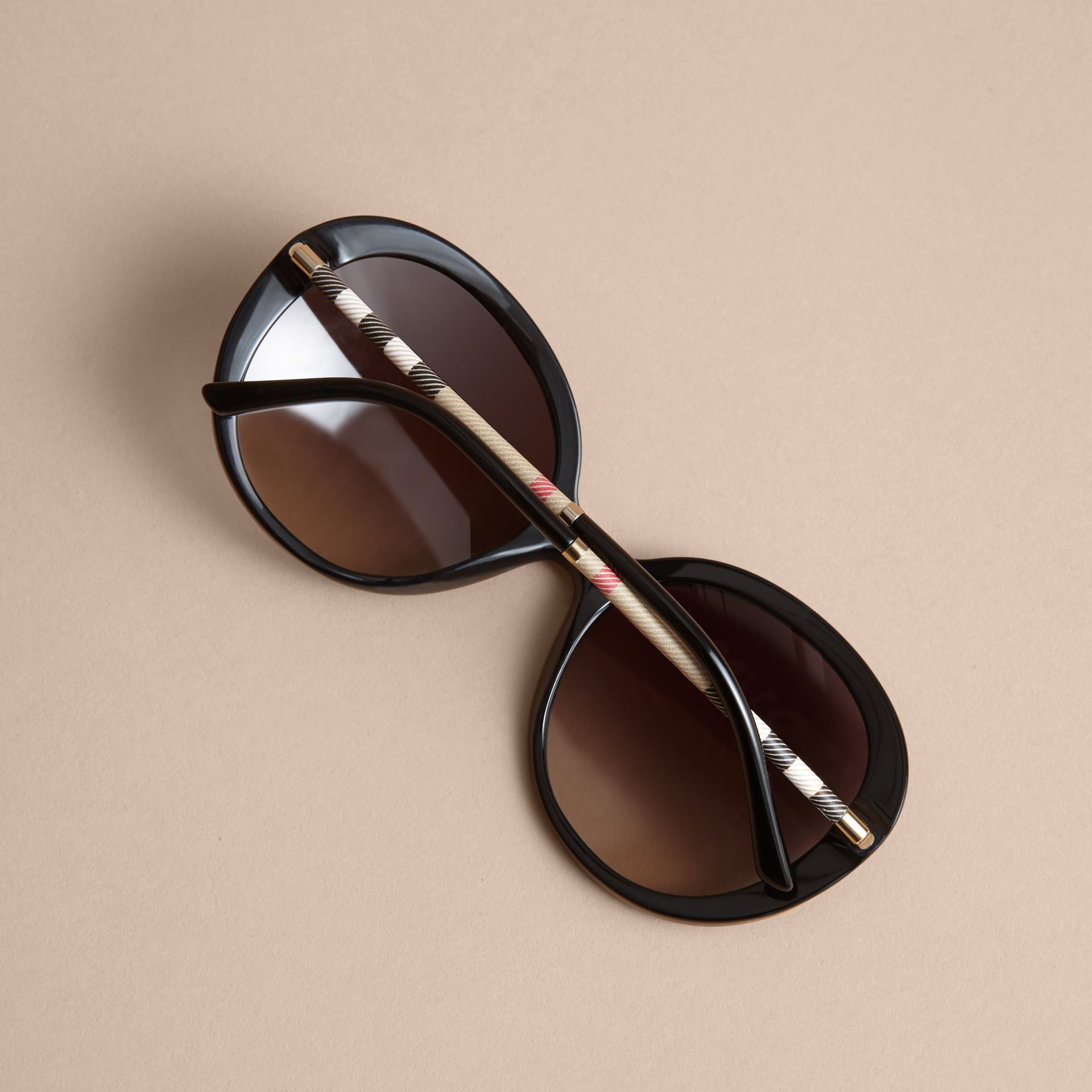 Check Detail Round Frame Sunglasses in Black - Women | Burberry - gallery image 4