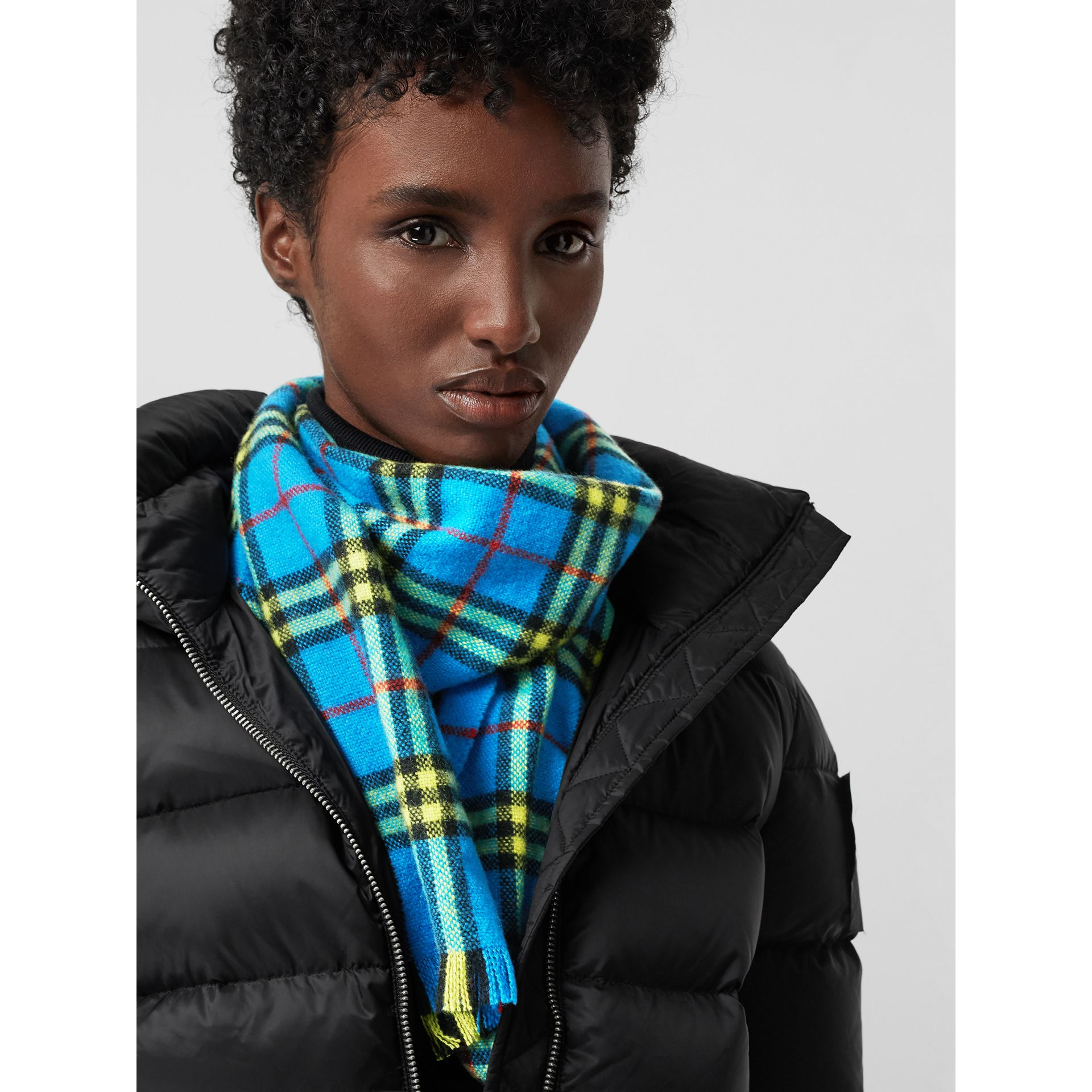 Check Cashmere Scarf in Bright Sky Blue | Burberry United Kingdom - gallery image 6