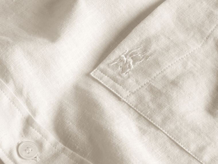 White Short-sleeved Stretch Cotton Poplin Shirt White - cell image 1