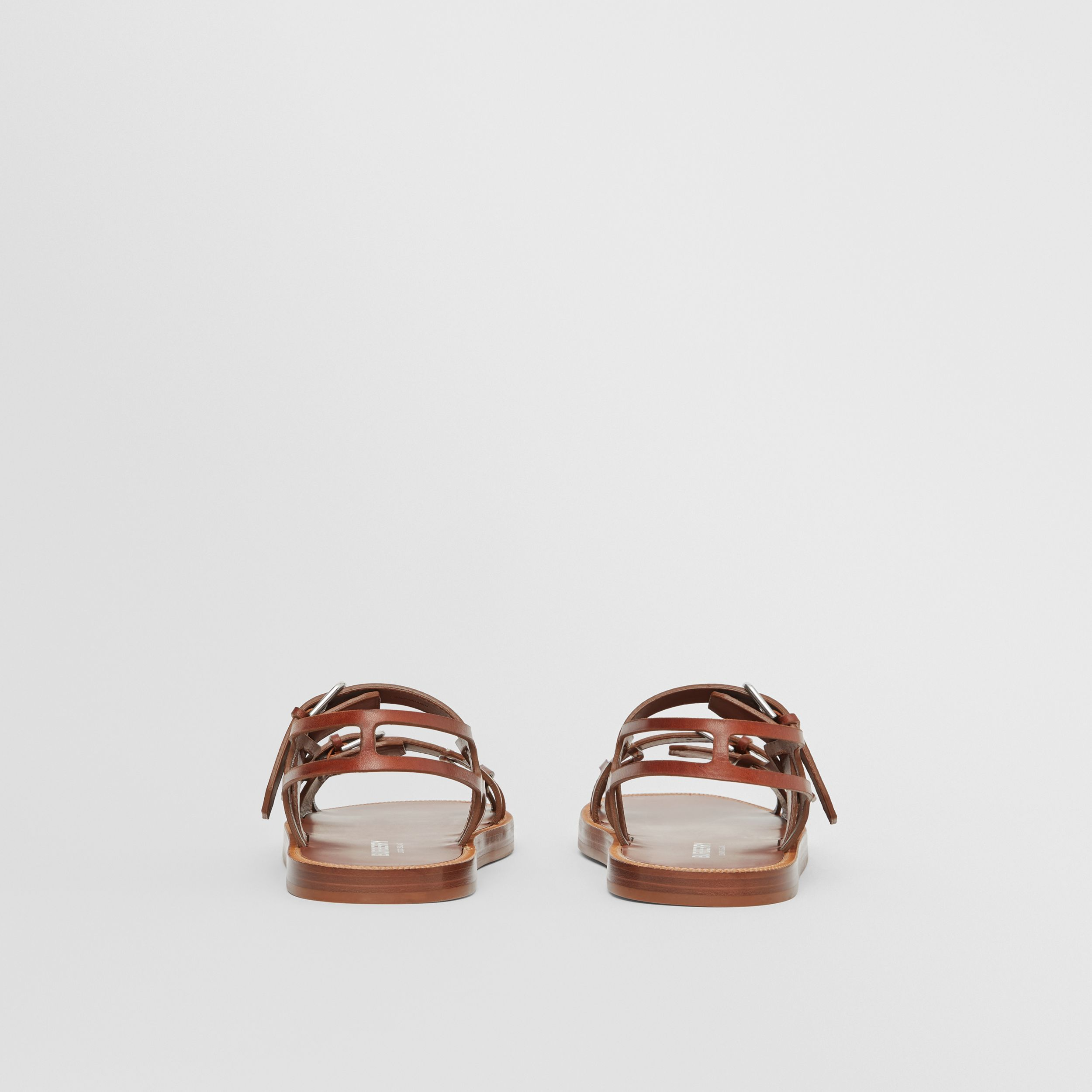 Leather Webb Sandals in Tan - Men | Burberry - 4
