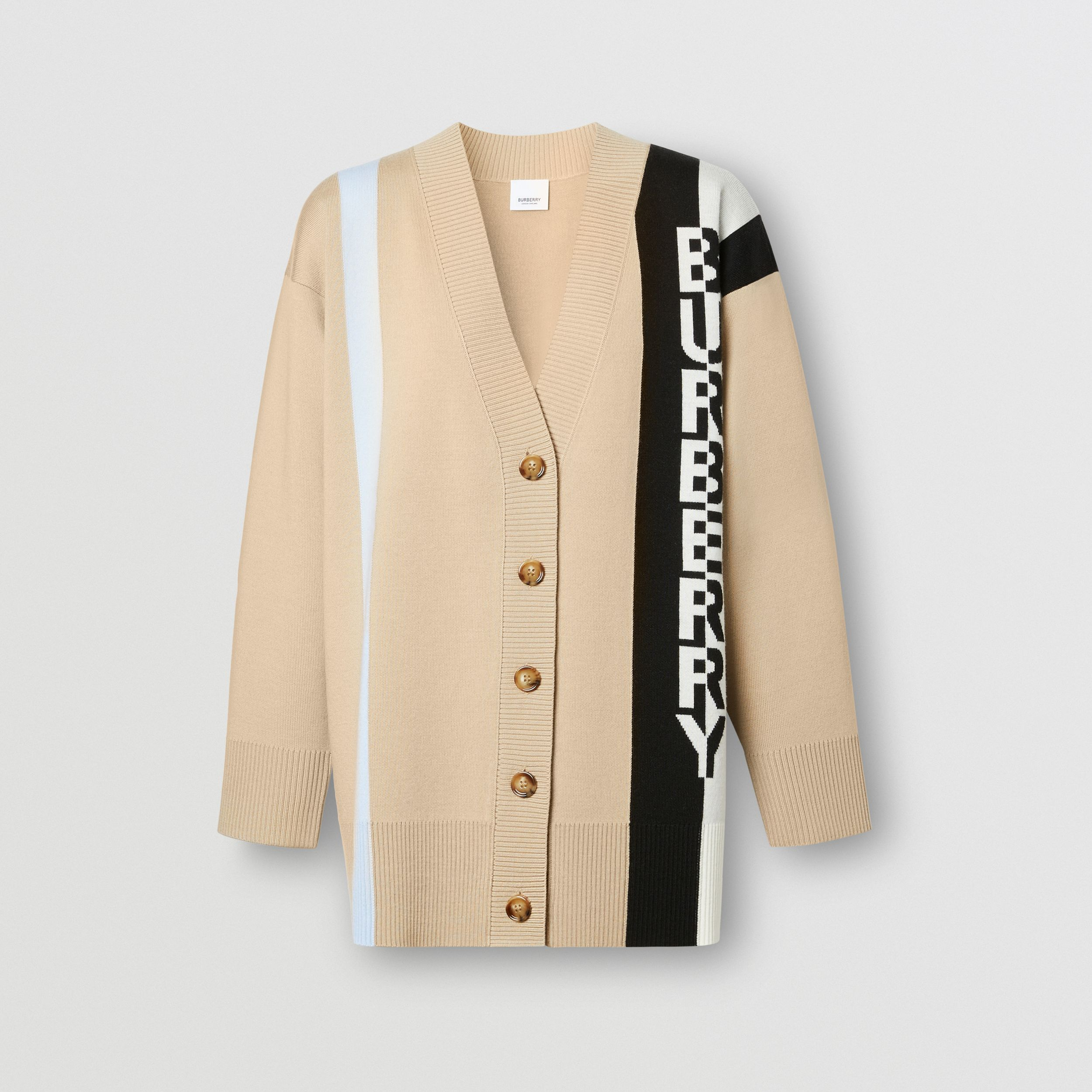 Logo Merino Wool Blend Jacquard Cardigan in Soft Fawn - Women | Burberry - 4