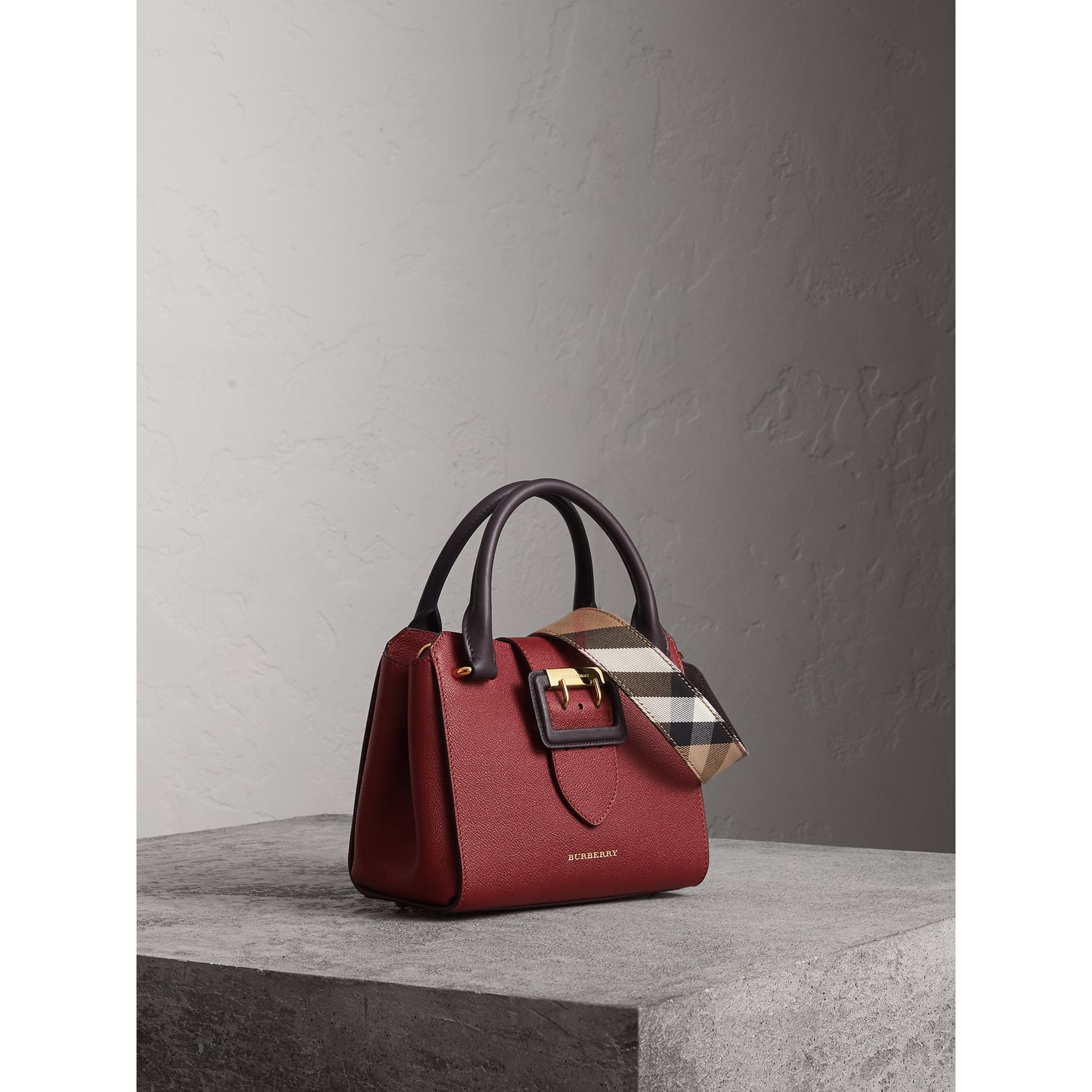 The Small Buckle Tote in Two-tone Leather in Burgundy - Women | Burberry United Kingdom - gallery image 7