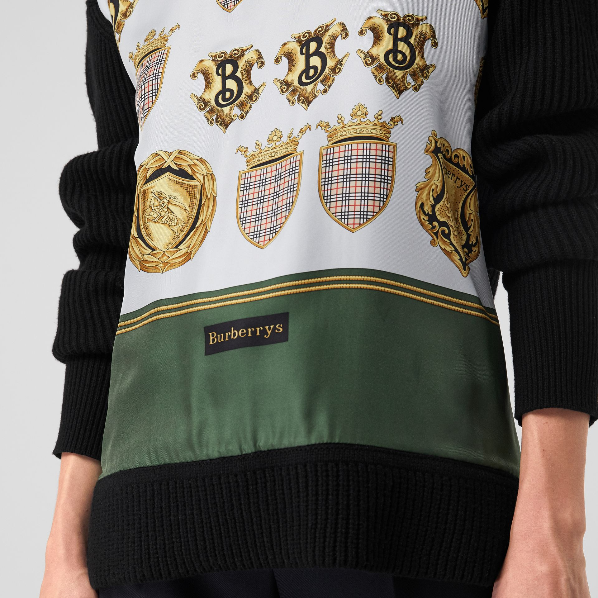 Archive Scarf Print Panel Wool Sweater in Black - Women | Burberry United Kingdom - gallery image 4