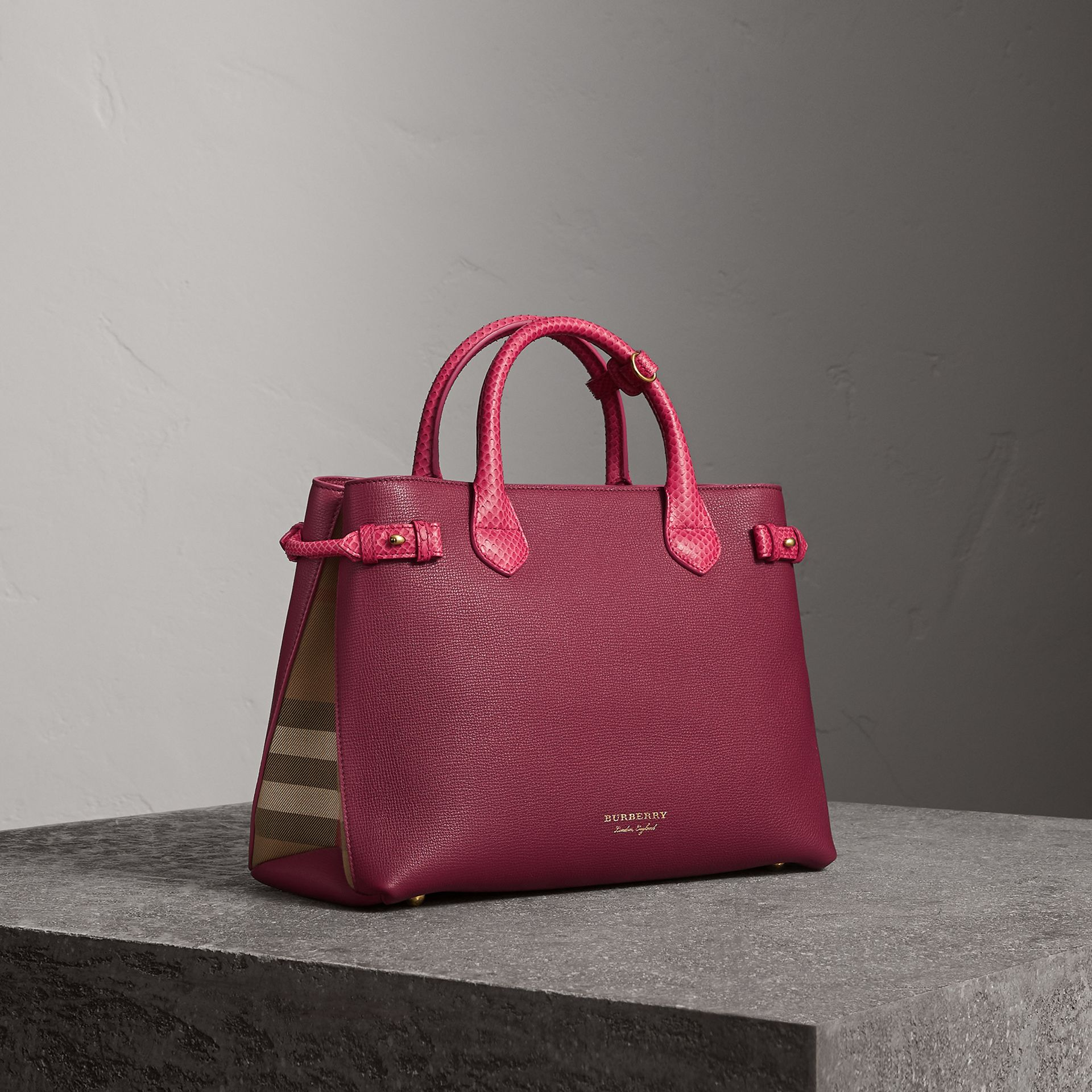 The Medium Banner in Leather and Snakeskin in Berry Pink - Women | Burberry - gallery image 0