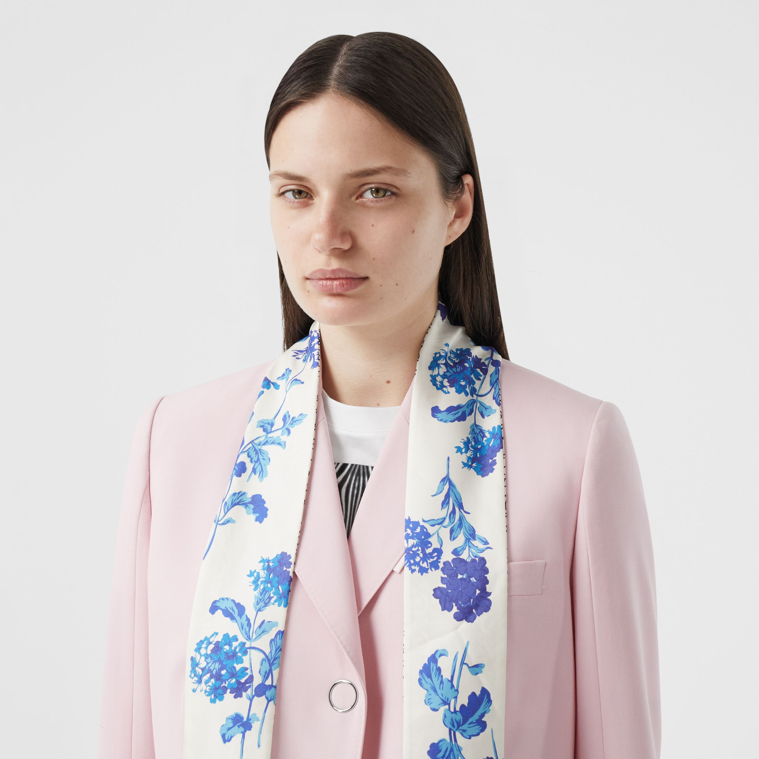 Floral and Monogram Print Silk Skinny Scarf in Pale Blue | Burberry Singapore - 3