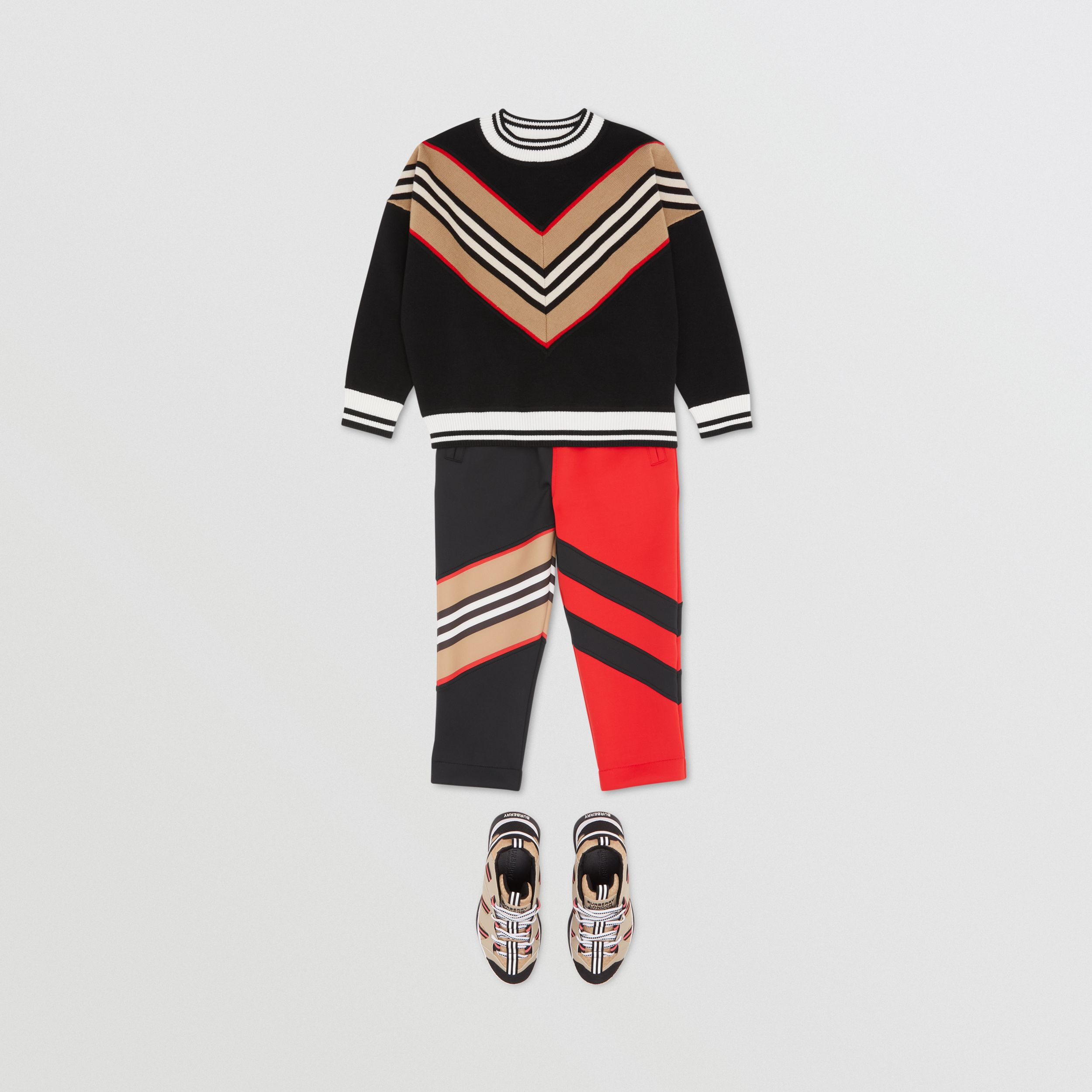 Icon Stripe Panel Wool Blend Sweater in Black | Burberry United Kingdom - 3