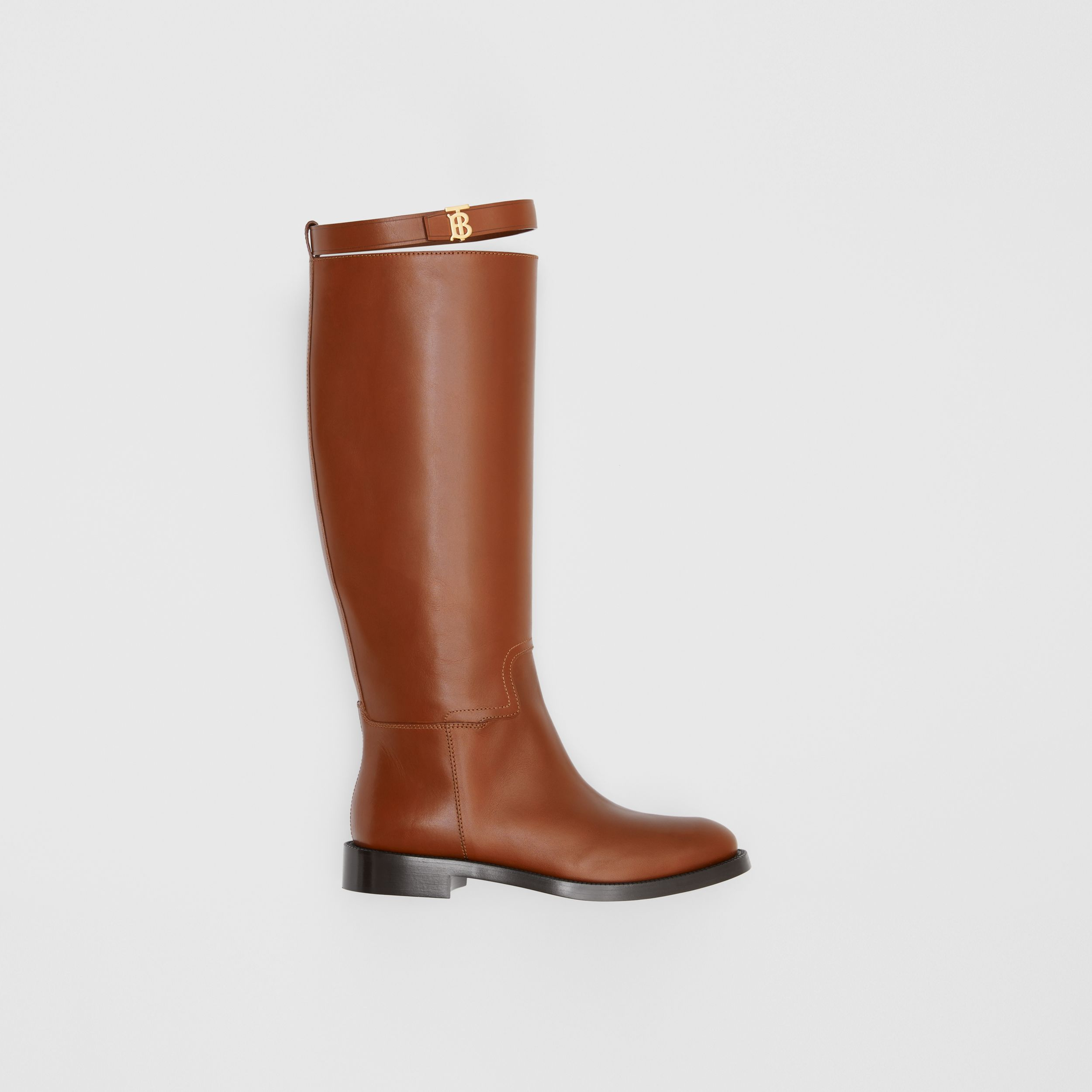Monogram Motif Leather Knee-high Boots in Tan - Women | Burberry Australia - 1