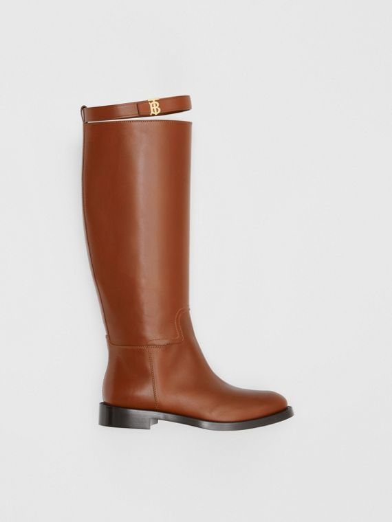 Monogram Motif Leather Knee-high Boots in Tan