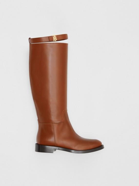 Kniehohe Stiefel aus Leder mit Monogrammmotiv (Hellbraun)
