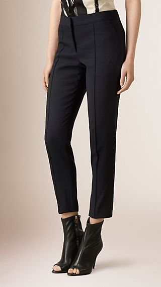 Stretch Wool Silk Tailored Trousers