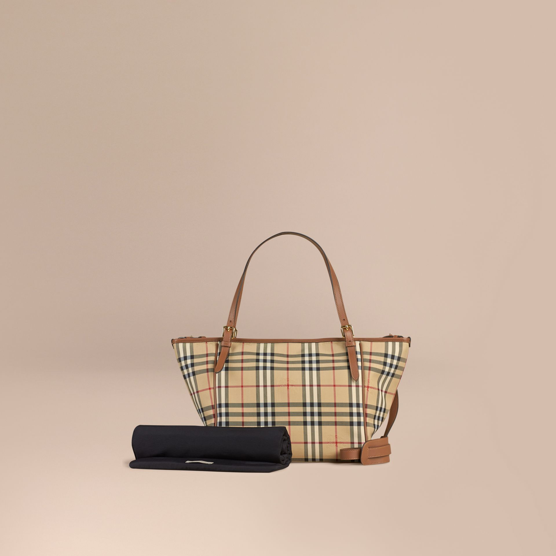 Horseferry Check Baby Changing Tote Bag in Tan | Burberry Canada - gallery image 1